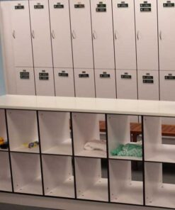 Cubbies are perfect for locker room storage