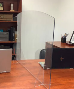 The solid clear polycarbonate desktop protective shield, or portable sneeze guard for desk usage, is designed to act as a physical barrier to slow the spread of germs. It can be utilized in a variety of settings: from hospitals, personal desktops, and pharmacies to government agencies, banks, and grocery stores. Our desktop protective shield can be used virtually anywhere!